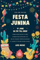 Festa Junina Poster Brasilien junifestival. Folklore Holiday. vektor