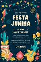 Festa Junina Poster Festival in Brasilien im Juni. Folklore-Urlaub. vektor