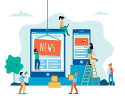 Nachrichten, Internet-Nachrichtenkonzeptillustration in der flachen Art. Leute, die an der Website arbeiten.