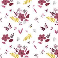 Vacker blommig bakgrund med blommor och blad av våren