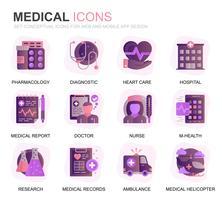 Modernes Set Gesundheitswesen und medizinische Verlaufsikonen für Websites und mobile Apps. Enthält Symbole wie Krankenwagen, Erste Hilfe, Forschung, Krankenhaus. Konzeptionelle Farbe flach Symbol. Vektor-Piktogramm-Pack