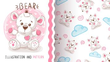 Söt nallebjörn - sömlöst mönster
