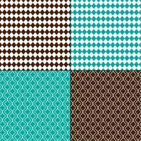 brun och turkosblå marockanska geometriska mönster vektor