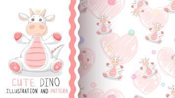 Grattis på födelsedagen dinosaur - sömlöst mönster