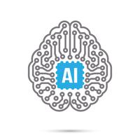 AI Artificiell intelligens Teknik krets hjärnesymbol ikon vektor