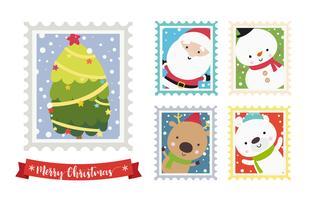 Julsanta snögubbe björn och ren tecknad stämpel ram 001 vektor