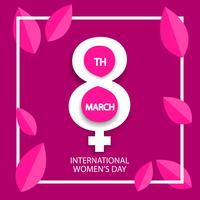 Frauentag, 8. März Feier Zeichen auf rosa Hintergrund vektor