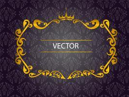 Goldrahmen auf dunklem Weinlesehintergrund vektor
