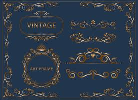 guld vintage och klassiska smycken sätta blommiga element för design