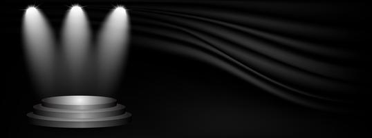 Stadium und Darstellung des Produktes mit Sportlicht auf schwarzem Ausstellungsraumstudiohintergrund