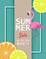 Kreative Illustrationssommer-Verkaufsfahne mit Zitrone, Orange und Flamingovogel im Papier schnitt Art.