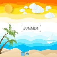 palm med tank och spade sommarbakgrund vektor