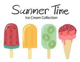 Sommerzeit flache Vektor Frucht Eis Eis am Stiel Sammlung
