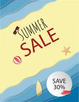 Sommerschlussverkaufhintergrund mit Strand und Sand und dekorativ.