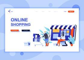 Modern platt webbdesign mall koncept för Online Shopping dekorerade människor karaktär för webbplats och mobil webbutveckling. Platt målsida mall. Vektor illustration.