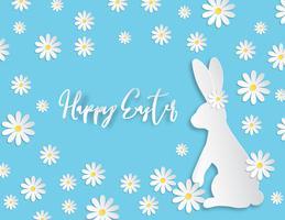 Kreativ illustration papper klippa glad påsk bakgrund med kanin och blomma på blå bakgrund.