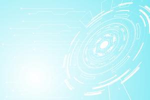 abstrakter Technologiekonzept Kreis Kreis digitaler Link auf Hi-Tech Zukunft weiß blauen Hintergrund