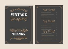 Weinlese-Verzierungs-Gruß-Karten-Vektor-Schablone und Retro- Einladungsdesign
