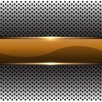 Abstrakte Goldfahne auf moderner futuristischer Hintergrundvektorillustration des silbernen Kreismaschenmusterdesigns.