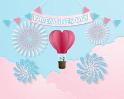 Vektor-Illustrationspapier der kreativen bunten Einladungskarte Valentinstag schnitt Art.