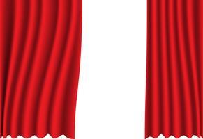 Rotes Vorhanggewebe auf weißer Hintergrundvektorillustration.
