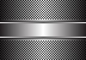 Abstrakte silberne Fahne auf moderner Hintergrundvektorillustration des Hexagonnetzdesigns.