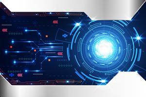 abstrakter Technologiehintergrundkonzeptkreiskreis digitales Metallblau auf hallo Tech zukünftigem Design