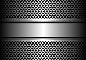 Abstrakt silver stål banner på cirkel mesh design lyx modern bakgrund vektor illustration.