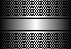 Abstrakte silberne Stahlfahne auf moderner Hintergrundvektorillustration des Kreismaschendesigns.