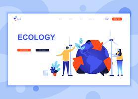 Moderna platt webbdesign mall koncept ekologi jorden dekorerad människor karaktär för webbplats och mobil webbutveckling. Platt målsida mall. Vektor illustration.