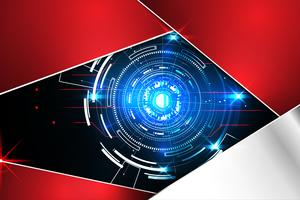 abstrakter Technologiehintergrundkonzeptkreiskreis digitales Metallrot auf hallo Tech zukünftigem Design