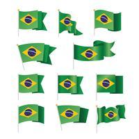 Satz von Brasilien-Flaggen-Sammlung lokalisiert auf Weiß vektor