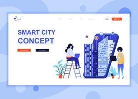 Moderna platt webbdesign mall konceptet Smart City Technology dekorerade människor karaktär för webbplats och mobil webbutveckling. Platt målsida mall. Vektor illustration.