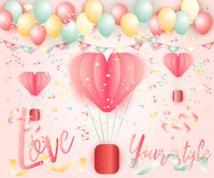 Ljus färgrik ballong bakgrund vektor