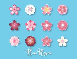 Kreativ vektor illustration samling av plommon blommar papper skuren stil isolerad på blå bakgrund.