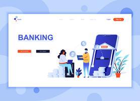 Modern platt webbdesign mall koncept för Online Banking dekorerad människor karaktär för webbplats och mobil webbutveckling. Platt målsida mall. Vektor illustration.