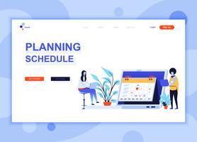 Moderna platt webbdesign mall koncept Planering Schema dekorerad människor karaktär för webbplats och mobil webbutveckling. Platt målsida mall. Vektor illustration.