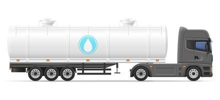 halb Anhänger des LKW mit Behälter für den Transport der Flüssigkeitsvektorillustration