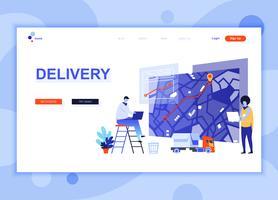 Modern platt webbdesign mall koncept för Worldwide Delivery dekorerade människor karaktär för webbplats och mobil webbutveckling. Platt målsida mall. Vektor illustration.