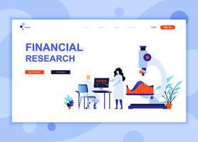 Moderna platt webbdesign mall koncept av Financial Research dekorerade människor karaktär för webbplats och mobil webbutveckling. Platt målsida mall. Vektor illustration.