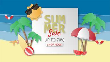 Kreativ illustration sommarförsäljning banderoll bakgrundspapper skuren stil.