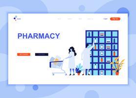 Moderna platt webbdesign mallkoncept Pharmacist in Pharmacy dekorerade människor karaktär för webbplats och mobil webbutveckling. Platt målsida mall. Vektor illustration.