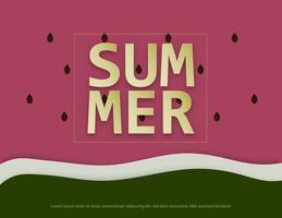 Illustration av sommarbakgrund med närbild av vattenmelon. vektor