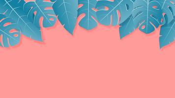 Tropiska blad gröna och rosa pastellfärger papper klippt stil på bakgrunden med tomt utrymme för reklamtext. vektor
