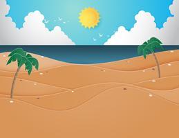 Illustration av sommarstrand och hav med palmer på stranden. vektor