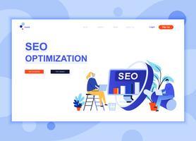 Modern platt webbdesign mall koncept Seo Analysis dekorerade människor karaktär för webbplats och mobil webbutveckling. Platt målsida mall. Vektor illustration.