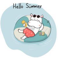 Glückliches Flusspferd des netten Karikaturgekritzels im kurzen Lügen auf Lebensring auf Meer, Sommerzeit