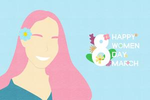 Kreativt illustrationinbjudningskort lyckliga kvinnodagskoncept.