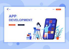 Moderna platt webbdesign mall koncept App Development dekorerade människor karaktär för webbplats och mobil webbutveckling. Platt målsida mall. Vektor illustration.