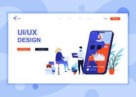 Modern platt webbdesign mall koncept UX, UI Design dekorerade människor karaktär för webbplats och mobil webbutveckling. Platt målsida mall. Vektor illustration.